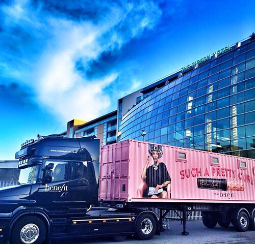 Benefit Cosmetics Shipping Container conversion experiential pop-up eventShipping Container conversion experiential pop-up event