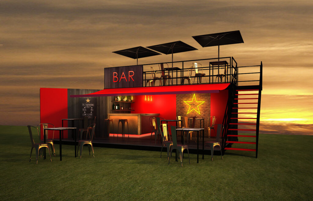 Bar in a Box Creative Spaces Shipping Container Conversion Specialists Events Mock-up Design Festivals Container Bars
